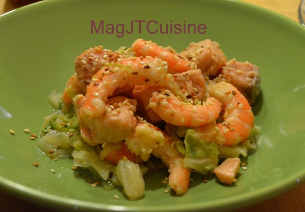 chou chinois, saumon crevette 1