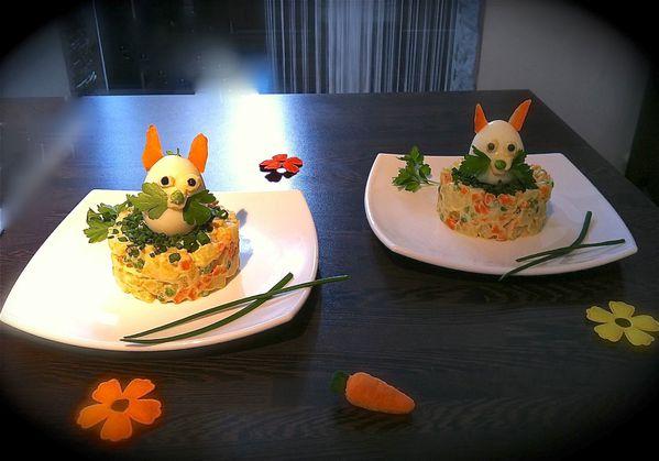 Lapins de p ques sur salade de l gumes le blog de cookmag for Entrees froides pour paques