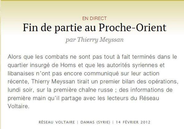 Fin de partie au Proche-Orient-Thierry Meyssan-14 février 2012 - Capture Ecran