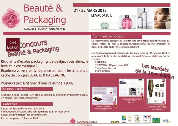 2nd concours beaut et packaging 2012 licence pro packaging en alternance iut d 39 evreux. Black Bedroom Furniture Sets. Home Design Ideas