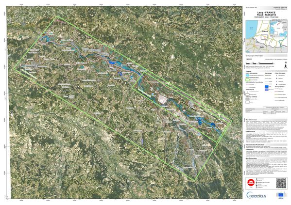 Copernicus - Emergency Mapping - EMSR048 - Lacq - Inondation
