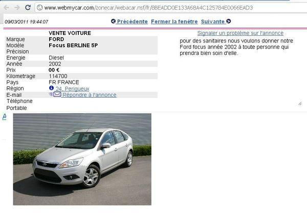 Ford focus année 2002 - 0 €