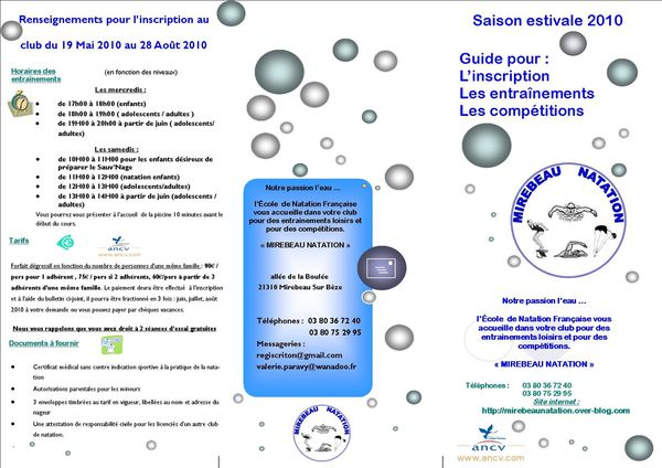 La saison estivale 2010 de mirebeau natation d but le 19 - Https reglement pass fr ...