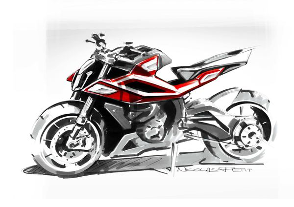 husqvarna motorcycle sketch rough red 3