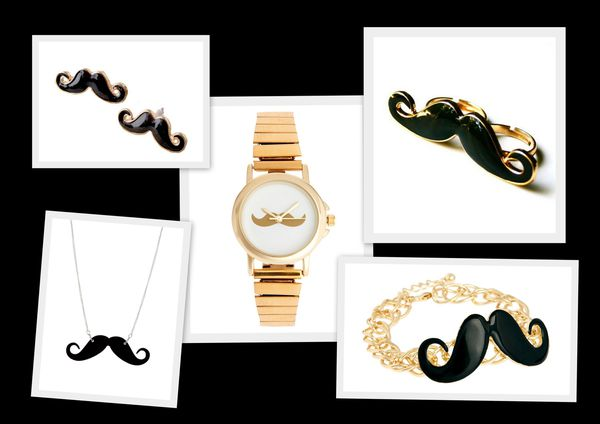 Moustache - collier - montre - bague - bracelet - -copie-1