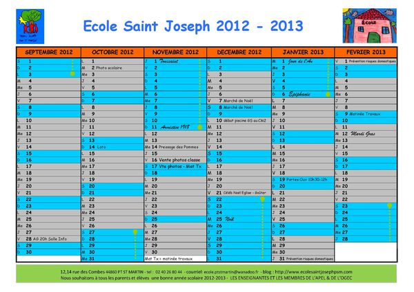 Calendrier 2012 2013 VD Page 1
