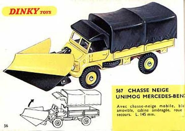 catalogue dinky toys 1967 p56 mercedes unimog chasse neige