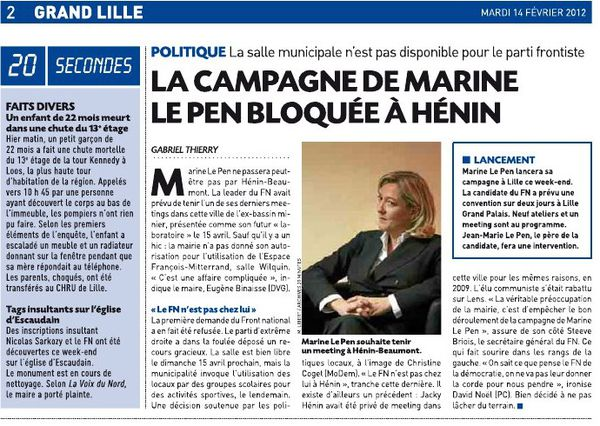 Article 20 minutes Lille 14-02-12