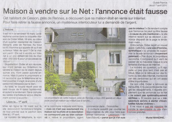 7 avril 2011 - OF arnaque annonce