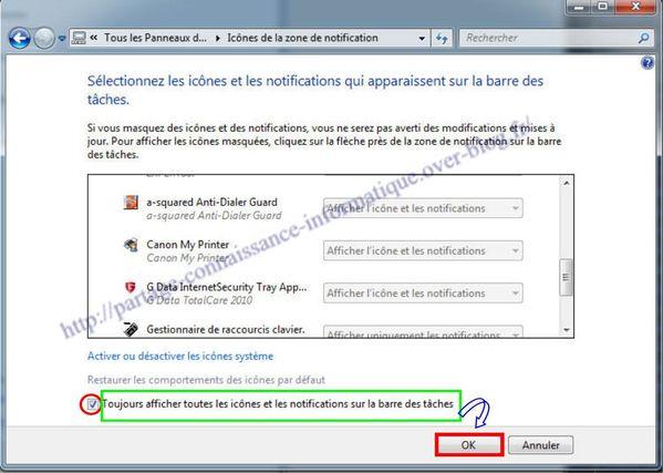 La zone de notification sous windows7 le blog de thierry042 - Comment mettre des icones sur le bureau ...