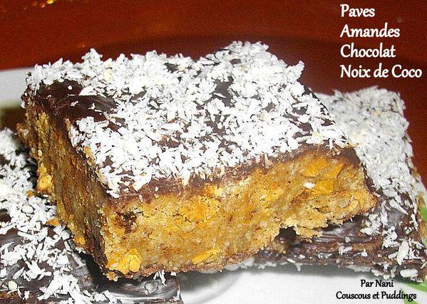 paves sans cuisson amandes chocolat noix de coco