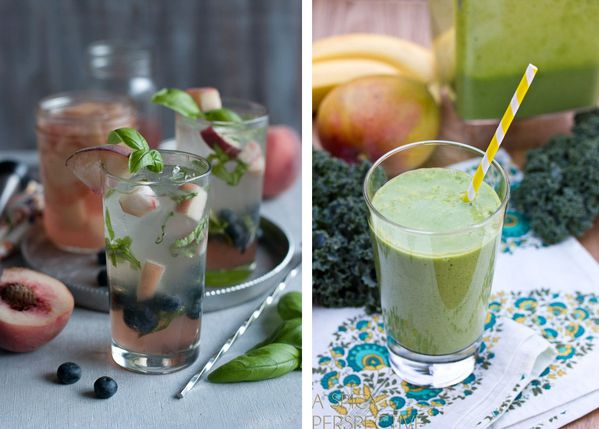 detox water pêche blanche basilic myrtille - green smoothi