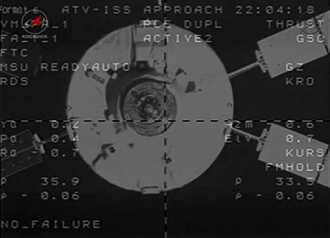 Docking ATV - ISS - Caméra - Temps distance vitesse