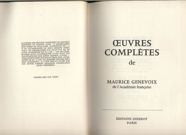 Oeuvres completes de Maurice Genevoix tome1