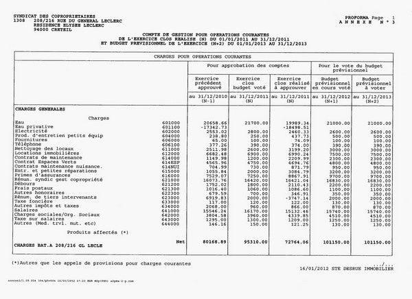 Häufig Budget prévisionnel copropriété 2012. - Conseil syndical  BZ56