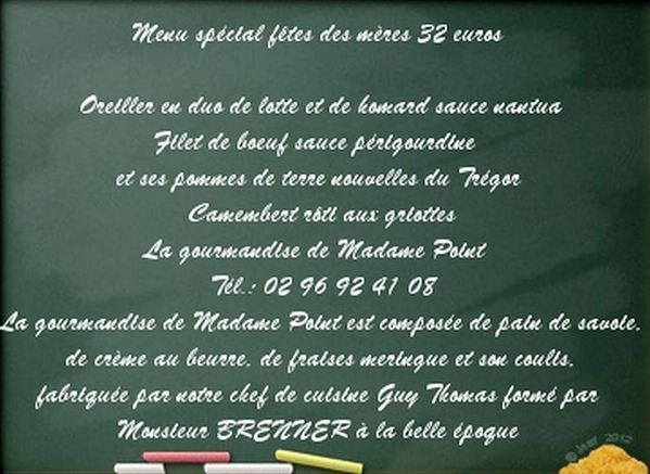 Treguier le restaurant le ponton nous adresse son menu for Article de restaurant