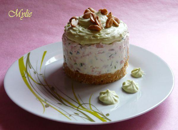 cheesecake aux crevettes, mousse d'avocat 1