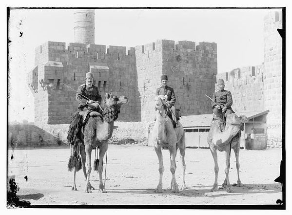 Turkish officers on camels before Tower of David