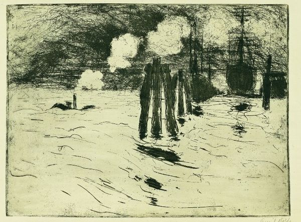Emil-Nolde-Hambourg--bateau-dans-le-port-1910-Gravure.jpg