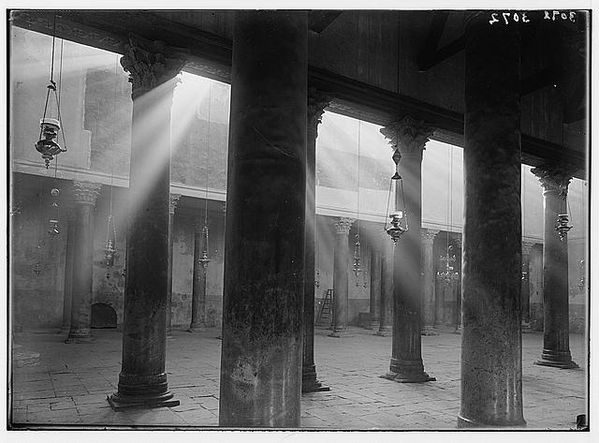 Bethlehem, nave of the Basilica. Light-shafts encircling the ancient pillar,1920 to 1933