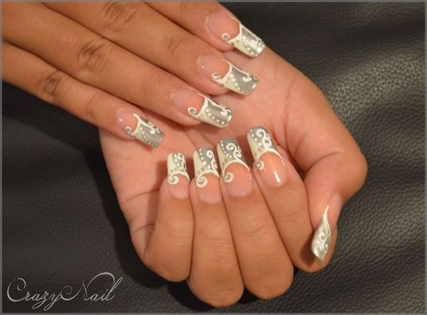French manucure blanc et gris le blog de crazynail - Deco french manucure ...