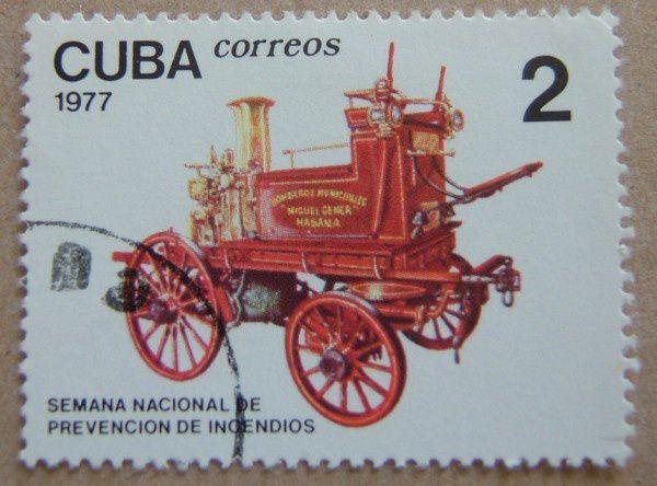 timbre oblitere cuba 1977 voiture pompiers semana nacional