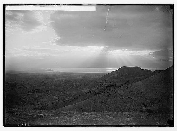 Sunrise over the Dead Sea from wilderness of Judea, between 1898 and 1946