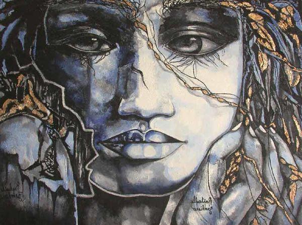 Tableau grand format 39 39 blu 39 39 peinture huile sur toile 130x9 - Grand tableau contemporain ...