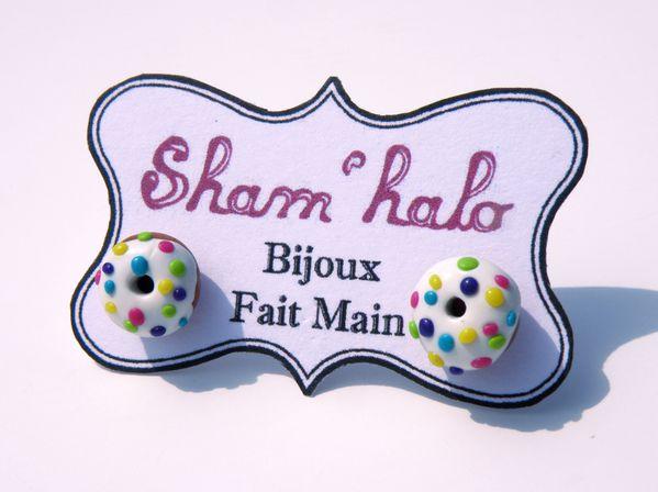 boucle doreille puce donut multicolore shamhalo