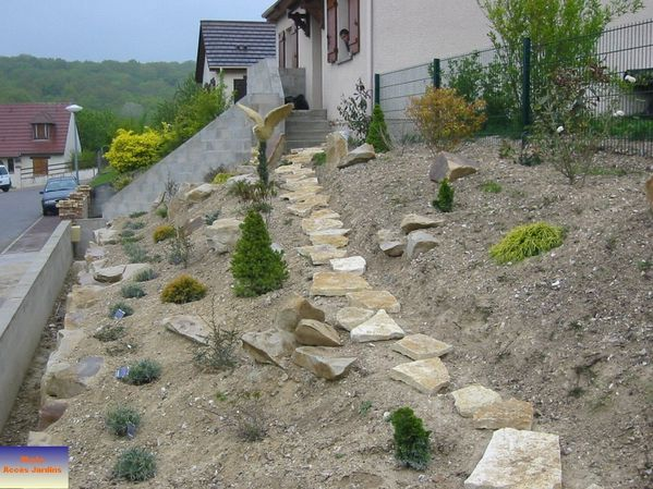 amenagement de jardin en pente - amenagements creations projets jardin paysagiste
