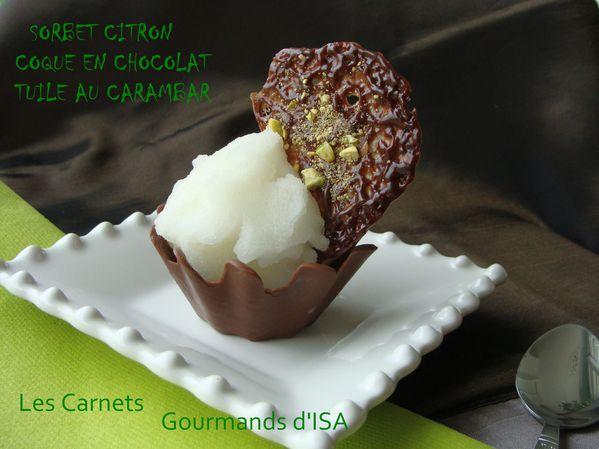 Sorbet citron en corolle de chocolat tuile carambar1