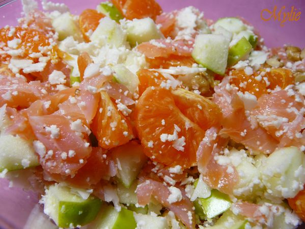 taboulé de chou fleur, fruits et saumon fumé 2