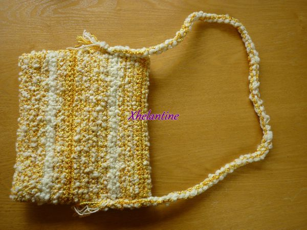 sac au crochet jaune blanc dos