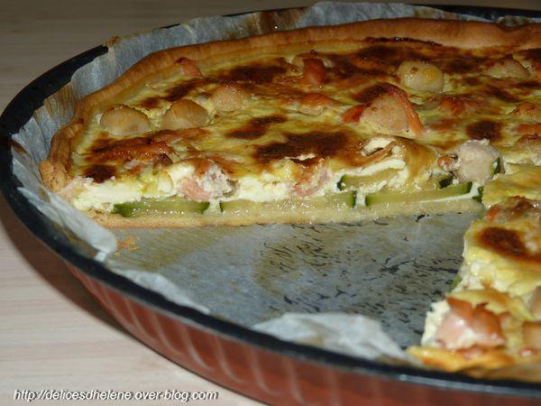 quiches aux courgettes, noix de st jacques et saumon (1)