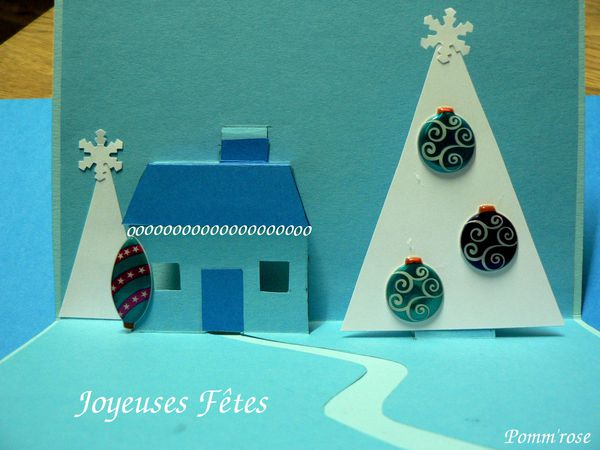 Carte de voeux pop up maison et sapins le blog de pomm 39 rose - Carte de voeux pop up ...