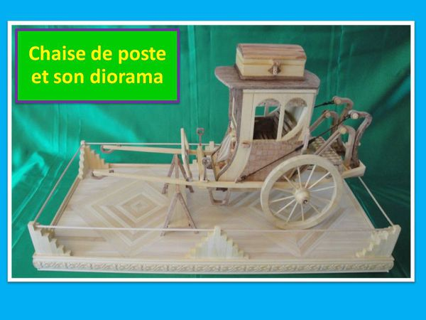 La chaise de poste maquette en marqueterie attelage for Chaise de poste