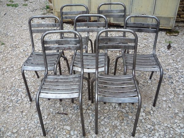 6 chaises metal mini lattes bistrot terrasse vers 1950 for Chaise bistrot metal