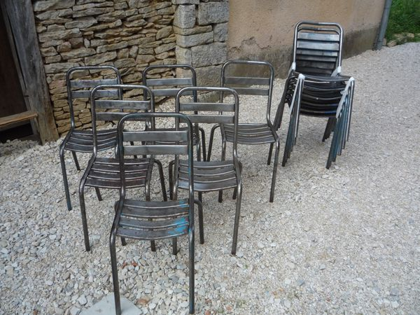 12 chaises metal lattes bistrot terrasse vers 1950. Black Bedroom Furniture Sets. Home Design Ideas