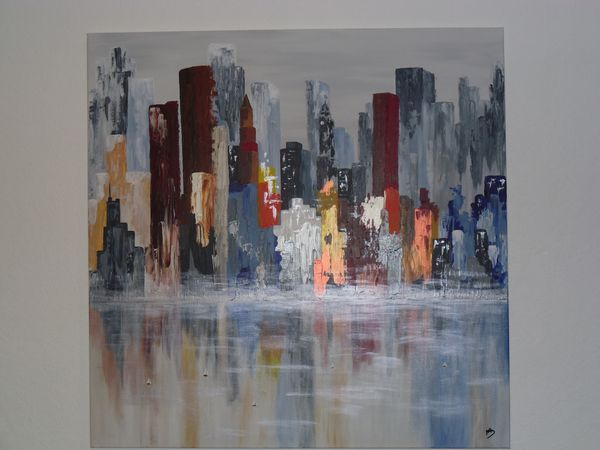 Tableau abstrait colors of new york les tableaux de mo - Grand tableau new york ...