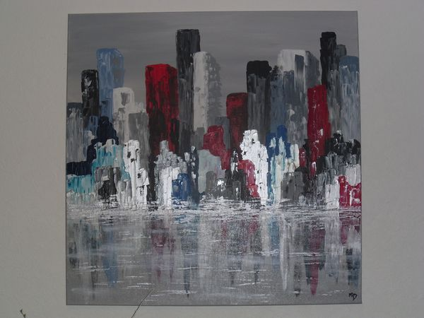 Tableau abstrait colors of manhattan les tableaux de mo - Tableau de new york ...