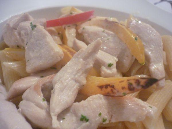 pennes émincé de poulet sauce crème et poivrons (3)