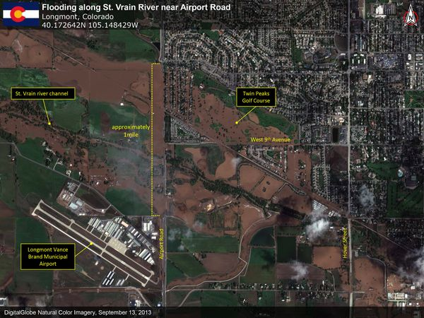 Digital Globe - Longmont - Airport - Inondations Colorado -