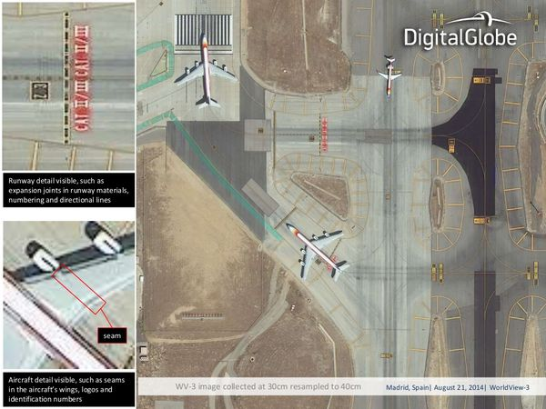 DigitalGlobe - Worldview-3 - Images - Madrid - avion - satellite
