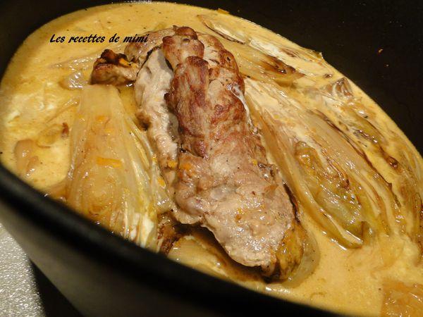 Filet mignon aux endives les recettes de mimi - Cuisiner un filet mignon de porc en cocotte ...
