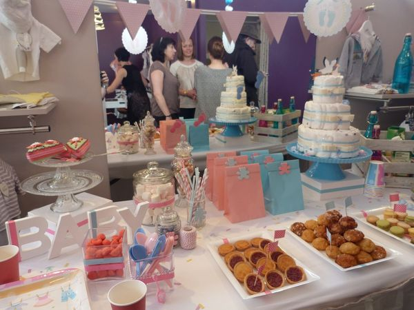 babyshower bleu rose
