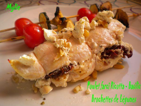 poulet farci ricotta basilic - brochette de légumes 2