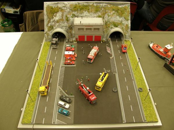 diorama accident pompiers d