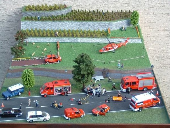 diorama accident pompiers