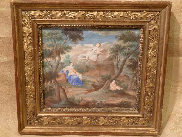 antiquaire gouache 18ème siècle ange