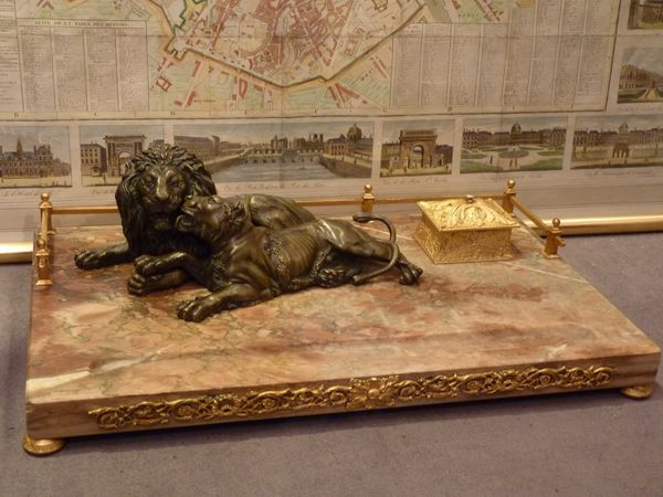 lions bronze encrier napoleon III antiquaire